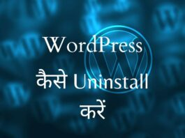 how to uninstall WordPress in Hindi